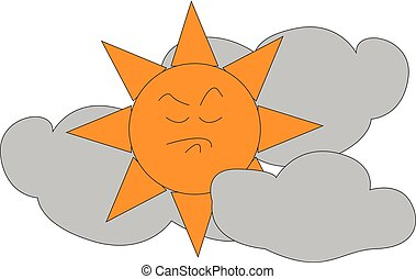 Angry sun in between clouds  illustration  print  vector on white background