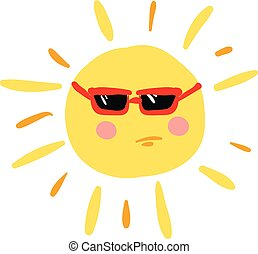 Angry sun with red glasses, vector color illustration.