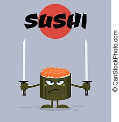 Angry Sushi Roll Mascot Character - Angry Sushi Roll Cartoon...