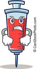 Angry syringe character cartoon style