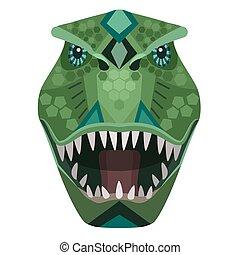 Angry t-rex raptor head Logo. Vector decorative Emblem.