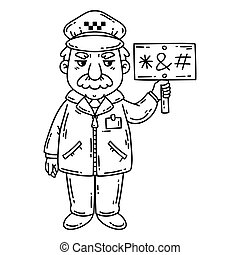 Angry taxi driver. Isolated objects on white background. Cartoon vector illustration. Coloring pages.