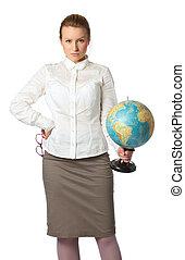 angry teacher with globe