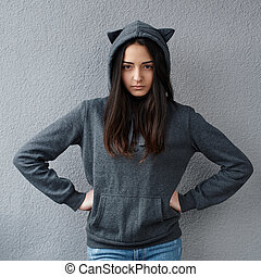 angry teenage girl suspected something wrong