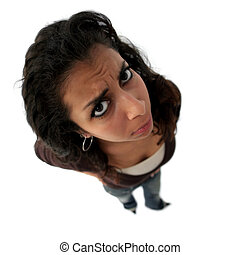 Angry teenager - A teenage angry indian girl. The picture...