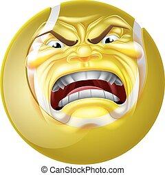 Angry Tennis Ball Sports Cartoon Mascot