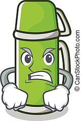 Angry thermos character cartoon style