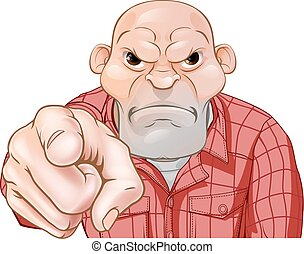 Angry Thug Pointing - A threatening mean looking cartoon...