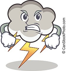 Angry thunder cloud character cartoon vector illustration