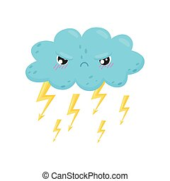 Angry thundercloud with lightning on white background.