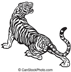 angry tiger black and white tattoo illustration