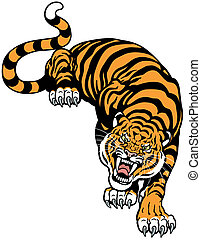 angry tiger front view, tattoo illustration isolated on ...