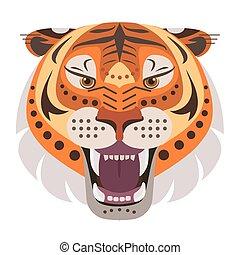Angry tiger head Logo. Vector decorative Emblem.