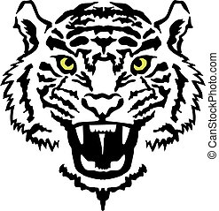 Angry tiger head with yellow eyes