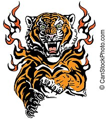 Angry tiger in tongues of flame