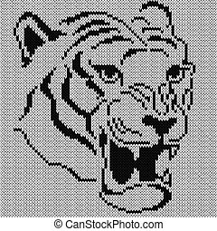 Angry Tiger Knitting Portrait
