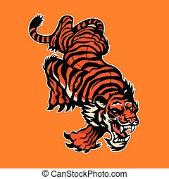 Angry Tiger, Mascot logo, Sticker design, Vector illustration.