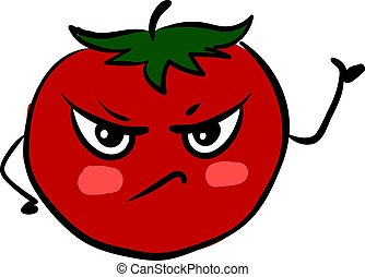 Angry tomato, illustration, vector on white background.