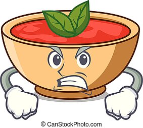 Angry tomato soup character cartoon