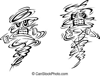 Angry tornado and hurricane characters on white, vector doodle sketch