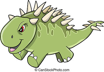 Angry Tough Green Dinosaur Vector