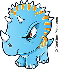 Angry Tough Little Dinosaur Vector Illustration