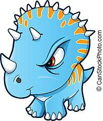 Angry Tough Little Dinosaur Vector Illustration