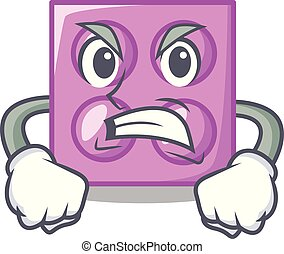 Angry toy brick mascot cartoon