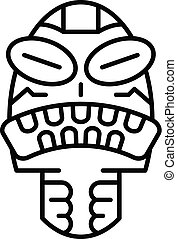 Angry tribal idol icon, outline style