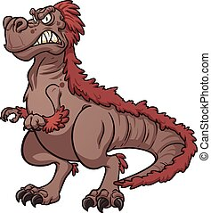 Angry Tyrannosaurus Rex. Vector clip art illustration with...