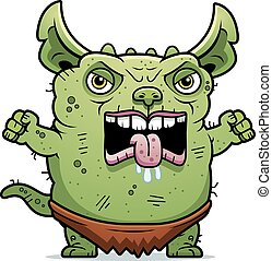 Angry Ugly Gremlin - A cartoon illustration of an ugly ...
