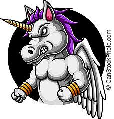 Angry Unicorn mascot logo design