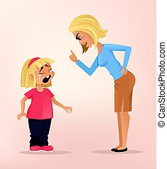 Angry upset mother character scolds her crying naughty...