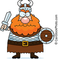 A cartoon viking with an angry expression.