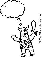 angry viking cartoon character