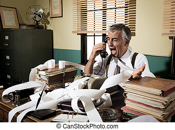 Angry vintage businessman shouting at phone - Angry vintage...