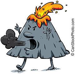 An angry cartoon volcano walks, erupts and blows smoke.