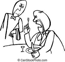Angry waiter telling something the waiter