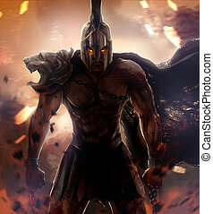 Angry warrior - Angry spartan warrior