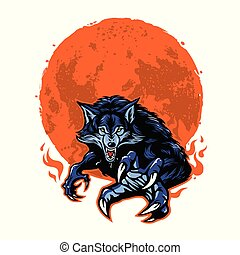 Angry Werewolf and Moon Vector