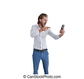 Angry western businessman blaming a customer on the phone isolated