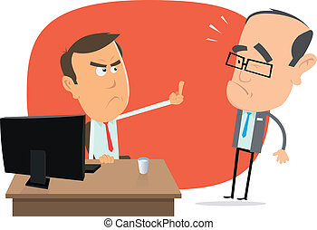 Angry White Collar Replies To The Boss - Illustration of an...
