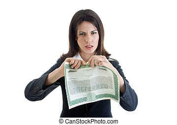 Angry white woman about to rip a stock certificate while...