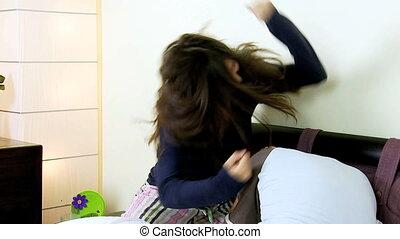 Angry wife hitting husband