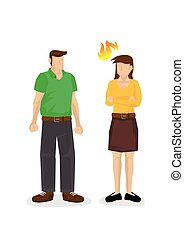 Angry wife not happy with her husband. Concept of argument, disagreement or unfairness. Flat isolated vector illustration.