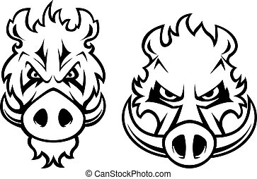 Angry wild boar heads character - Wild boar heads with...