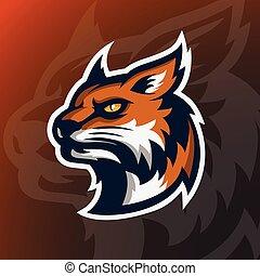 Angry Wildcat head mascot logo.