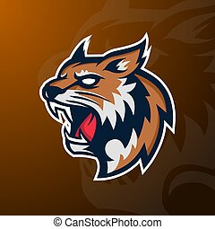 Angry Wildcat mascot sport logo, badge and emblem.