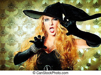 angry witch - Charming halloween witch over vintage...