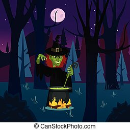 Angry witch woman character brewing potion. Vector flat cartoon illustration